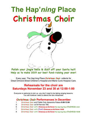 What's Hap'ning?. Christmas choir poster 2019